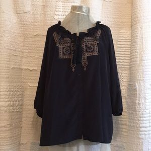 Old Navy Sz  XXL Embroidered Boho Peasant Blouse